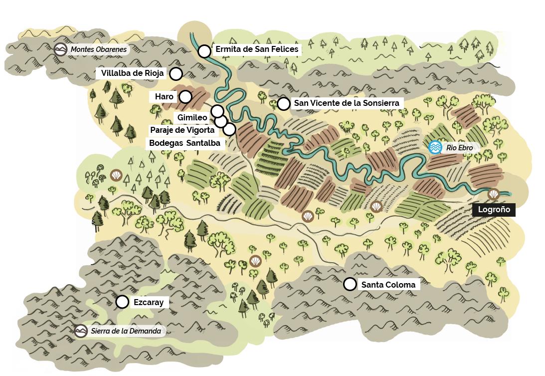 Mapa interactivo de las parcelas y viñedos de Santalba